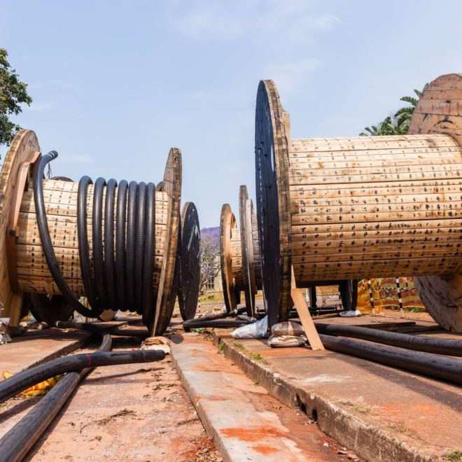 Electrical new high voltage cables been installed in underground Trenches.